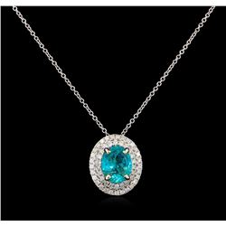 2.68 ctw Apatite and Diamond Pendant - 14KT White Gold