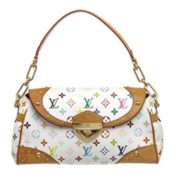 Louis Vuitton White Multicolore Canvas Leather Beverly MM Bag