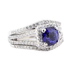 2.70 ctw Sapphire And Diamond Ring - 14KT White Gold