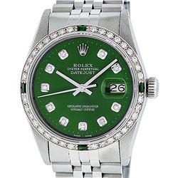 Rolex Mens Stainless Steel Green Diamond & Emerald 36MM Datejust Wristwatch
