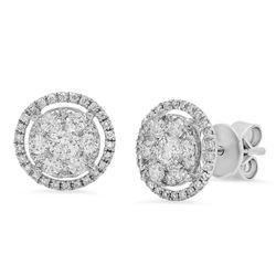 18k White Gold 0.90CTW Diamond Earrings, (SI1-SI2/G-H)