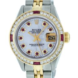 Rolex Ladies 2 Tone 14K MOP Ruby & Diamond Datejust Wristwatch