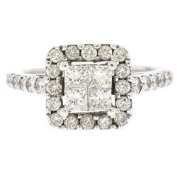 14k White Gold 1.25 ctw Invisible Princess & Round Diamond Halo Engagement Ring
