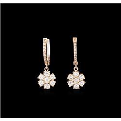 1.08 ctw Diamond Earrings - 14KT Rose Gold