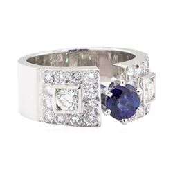 2.04 ctw Sapphire And Diamond Ring - 14KT White Gold