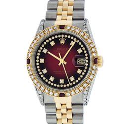 Rolex Mens 2 Tone 14K Lugs Red Vignette Diamond String & Ruby Datejust Wristwatc