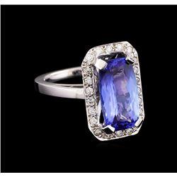 4.47 ctw Tanzanite and Diamond Ring - 14KT White Gold
