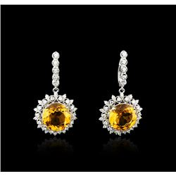 14KT White Gold 15.20 ctw Citrine and Diamond Earrings