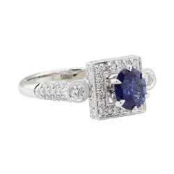 2.09 ctw Sapphire and Diamond Ring - 18KT White Gold