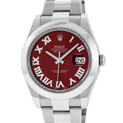Rolex Mens SS 41MM Red Roman Diamond Datejust 2 Oyster Band Wristwatch With Box
