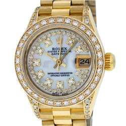 Rolex Ladies 18K Yellow Gold MOP Diamond Lugs President Wristwatch With Rolex Bo