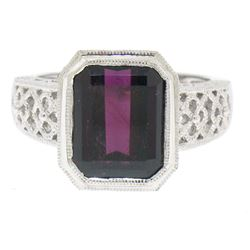 14k White Gold Filigree Ring w/ Large Emerald Cut Deep Wine Red Rhodolite Garnet