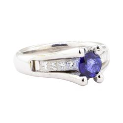 1.28 ctw Sapphire And Diamond Ring - 14KT White Gold