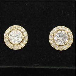 14k Yellow Gold 1.12 ctw Round Brilliant Diamond Stud Earrings w/ Pave Halos