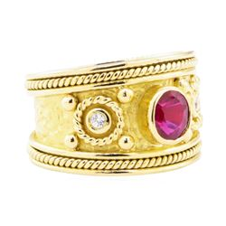 1.00 ctw Ruby and Cubic Zirconia Ring - 18KT Yellow Gold
