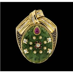 140.00 ctw Jadeite, Ruby and Diamond Pendant-Pin - 18-22KT Yellow Gold