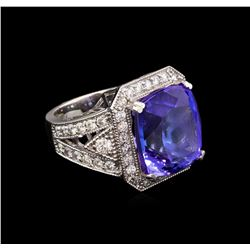 18.39 ctw Tanzanite and Diamond Ring - 14KT White Gold