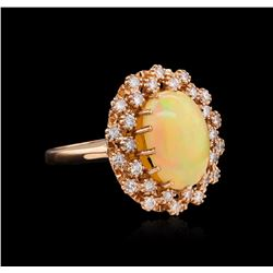4.22 ctw Opal and Diamond Ring - 14KT Rose Gold