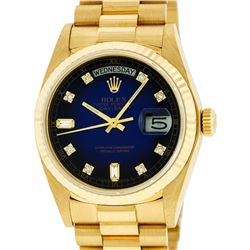 Rolex Mens 18K Yellow Gold Blue Vignette Diamond Quickset President Wristwatch W