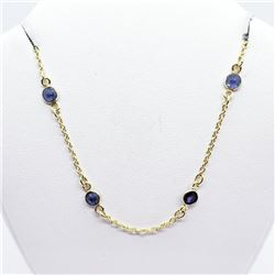 Gold Plated Silver Flexible Sapphire 16 - 19 Inches Necklace, Suggested Retail Value $400 (Estimated