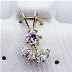 10K Yellow Gold Cz Flower Shaped Pendant, Made in Canada, Suggested Retail Value $120