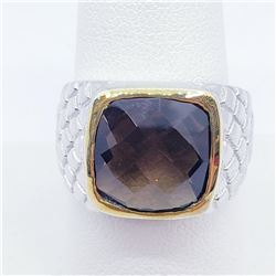 Brass Men'S Smokey Topaz(5.3ct) Ring (~weight 8.6g), Suggested Retail Value $200 (Estimated Selling