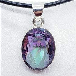 Silver Mystic Topaz Pendant With Cord Necklace (~weight 7.5g), Suggested Retail Value $300 (Estimate