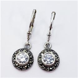 Silver Cz And Marcasite Leverback Earrings, Suggested Retail Value $160