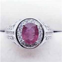 Silver Men'S Ruby Cubic Zirconia Ring (~weight 6.5g), Suggested Retail Value $500 (Estimated Selling