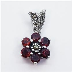 Silver Garnet Marcasite Flower Shape Pendant (~weight 2g), Suggested Retail Value $100