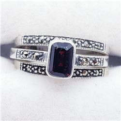 Silver Garnet Marcasite Set Of Three Ring (~weight 5g), Suggested Retail Value $240 (Estimated Selli
