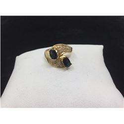 Ladies 18K Gold double solitaire ring with 1.56ct gemstones appraisal certificate if $7300.00