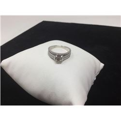 Ladies 14kt white gold diamond solitaire 1.36 carat engagement ring with appraisal certificate value
