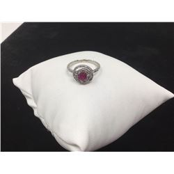 Ladies 14k Gold ruby solitaire and diamond cluster top ring with appraisal certificate value of $690