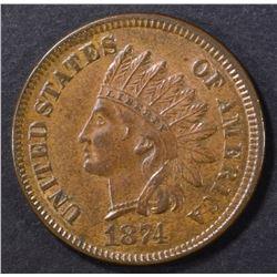 1874 INDIAN CENT AU/BU