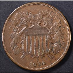 1864 LARGE MOTTO 2 CENT XF