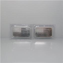 (2) 1 oz Silver USA Flag Bars - .999 Pure
