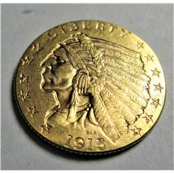 1915 $2.5 Gold Indian XF AU Grade