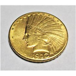 1910 D $10 Gold Indian XF AU Grade