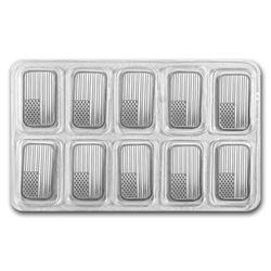 10 pcs. USA Flag Design Silver Bars -.999 Pure