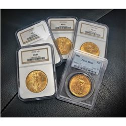 (1) $20 Gold Saint Gauden Random From image MS63