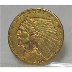 1925 D $2.5 Gold Indian XF PLUS  Grade