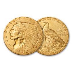 1913 $2.5 Gold Indian XF AU Grade