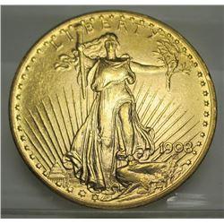 1908 NM $20 Gold Saint Gaudens XF AU Grade