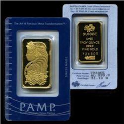 1 Oz. Pamp Suisse Gold Ingot on Assay Card