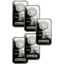 (5) Morgan Design 1 oz Silver Bars