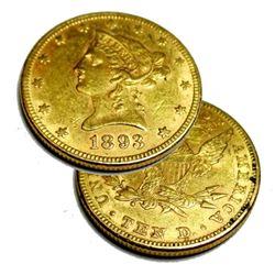 1893 $ 10 Gold Liberty Eagle - AU/BU