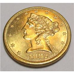 1882 s $5 Gold Liberty CH BU Mint Luster