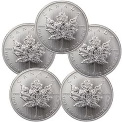 Lot of (5) Silver Canadian Maple Leaf's
