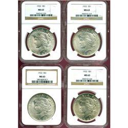 (4) 1922 MS 63 NGC Peace Dollars